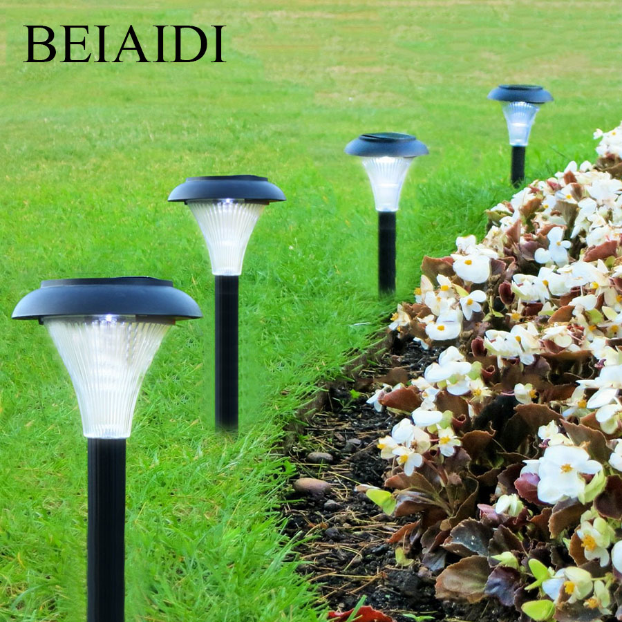 BEIAIDI New Design 2pcs Outdoor Solar LED Garden Spike Spotlight Solar Landscape Pathway Patio Lawn Light With Stakes