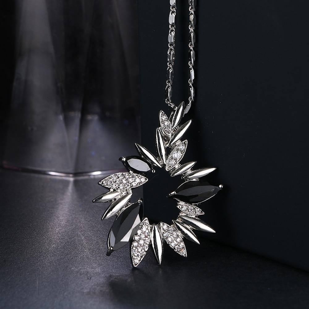 Emmaya luxe fleur cristal pendentifs colliers pour femmes noir strass - Bijoux fantaisie - Photo 3