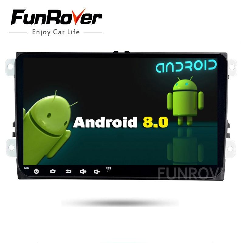 Funrover 2 din Car Dvd Gps Multimedia For Skoda octavia Android Player For Volkswagen Vw Golf 5 6 Polo Passat Tiguan wifi usb FM
