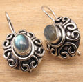 HANDMADE DESIGNER JEWELRY Natural LABRADORITE Gems Earrings ,  Silver Plated