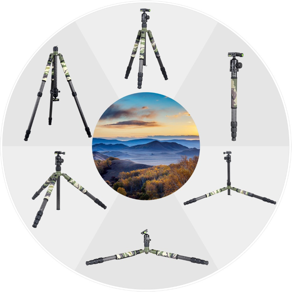 XILETU T284C FB1 Professional Carbon Fiber Travel Tripod Green Camouflage Hidden Stand for DSLR Camera Outdoor Hunting Shooting in Tripods from Consumer Electronics