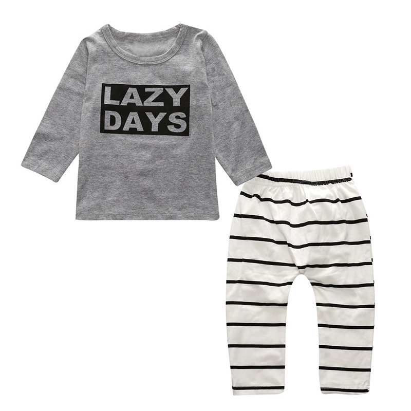 Autumn Children Clothing Set Cotton Kids Outfits Long Sleeve T-Shirt+Pants Letter Print Stripe 2 Pcs Set Newborn baby girl clo
