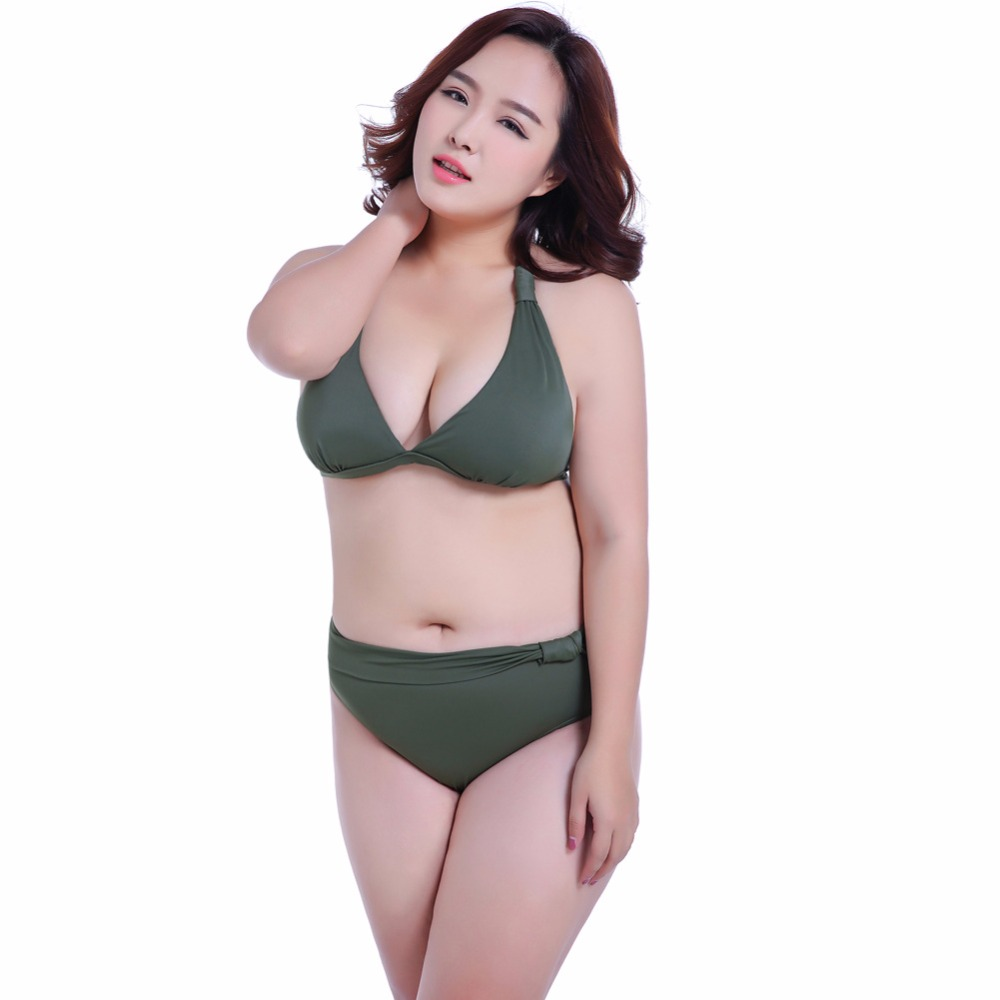 2017 new solid color high waist swimsuit push up bikini plus size swimwear women cut out bikinis. Black Bedroom Furniture Sets. Home Design Ideas