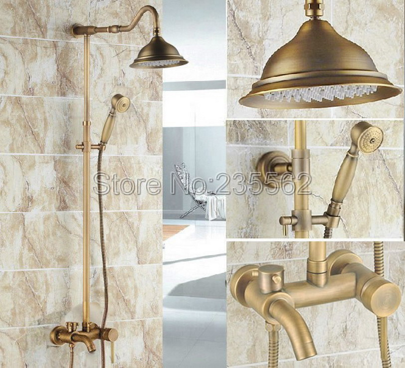 Antique Brass Single Handle Rain Shower Faucet Set Wall Mounted Bathtub Mixer Tap + Rainfall Shower Heads + Hand Spray lrs221