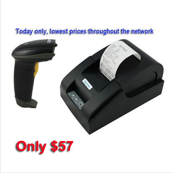 Image 2 - usb port Barcode scanner and usb port 58mm thermal printer thermal receipt printer pos printer-in Printers from Computer & Office