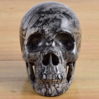 Big size Natural Picasso Jasper Skull Handmade human head 1217g statue Carving Crystal Healing Reiki ornament art collectible
