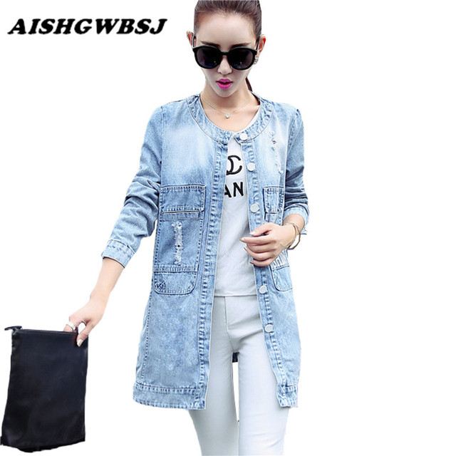 Plus Size 2016 New Women's Long Denim Jackets Coats Spring Autumn Outerwear Fashion Single Breasted Casual Overcoat  ZP648