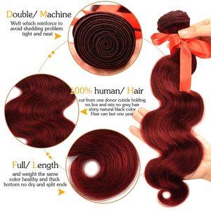Image 3 - Pinshair 99j hair red burgundy bundles with closure 브라질 바디 웨이브 휴먼 헤어 위브 번들 (closure non remy no tangle)
