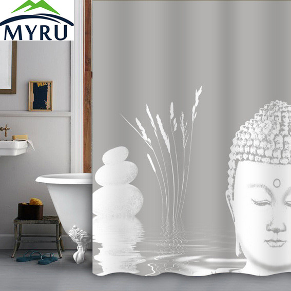 MYRU 180180 Polyester Shower Curtains Buddha Curtain Nice Decor For Bathroom Free Shipping In From Home Garden On Aliexpress