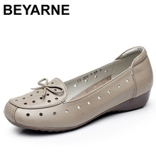 BEYARNESummer Shoes  New Fashion Genuine Leather Flat Shoes Woman Casual Comfortable Soft Sandals Womens Shoes Plus SizeE148