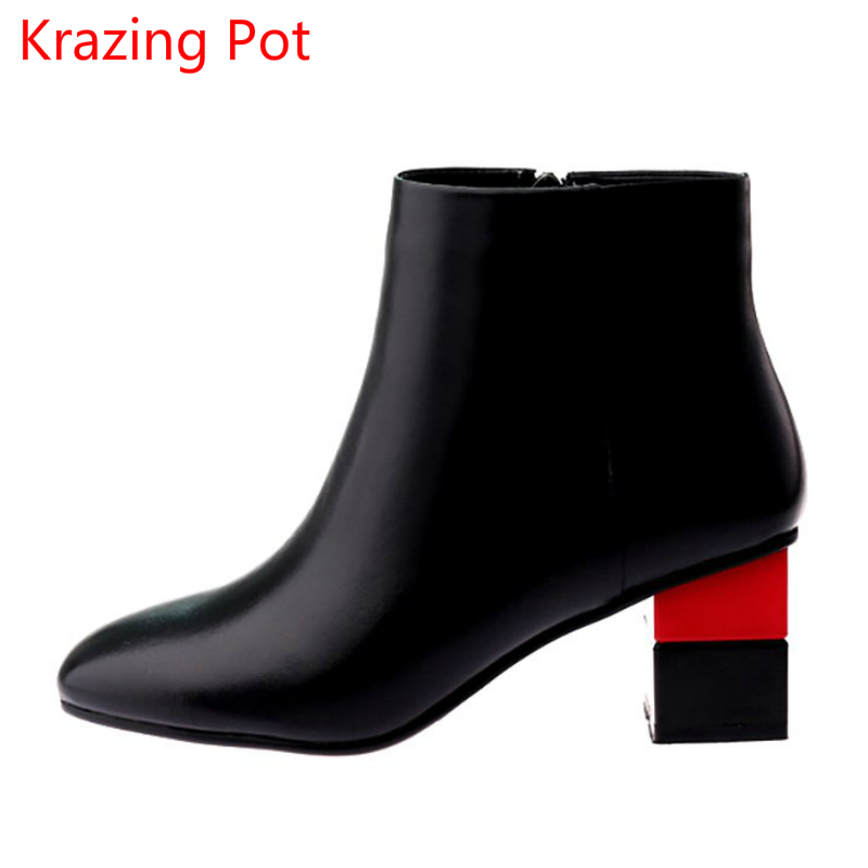 2018 Handmade Genuine Leather Fashion Boots Women Winter Shoes Square Toe Mixed Colors Chelsea Boots Solid Women Ankle Boots L96 enmayer genuine leather women boots autumn winter wedges shoes zip fashion ankle boots mixed colors platform shoes boots 34 39