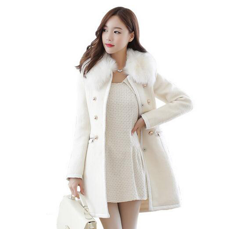 6ef17649ac7 Women s Plus Size Longline Coats Trim Faux Fur Shawl Collar Button Down  Office Ladies Slim Pea Over Coat Winter Trench Parka-in Wool   Blends from  Women s ...