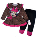 4sets/lot 4-6X yrs Baby Girl's Minnie Mouse Dress and Legging Set,minnie mouse dress and pants two pieces sets