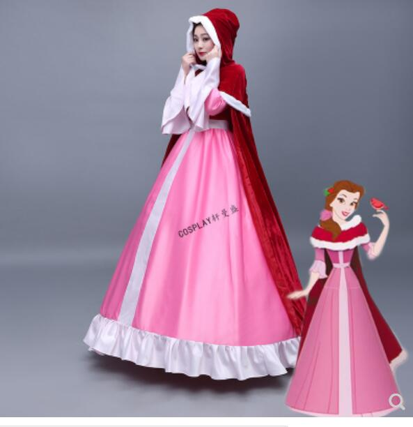 Beauty and Beast Belle Cosplay Costume Belle Pink Dress Red Cloak Snow Grow Princess Halloween Costumes for Adult
