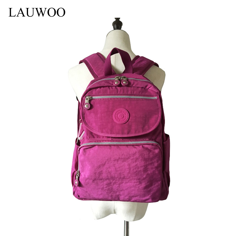 LAUWOO Women Waterproof Nylon Backpack Women Mochila Girl Fashion travel Backpacks Rucksack School Bag Black Blue Purple