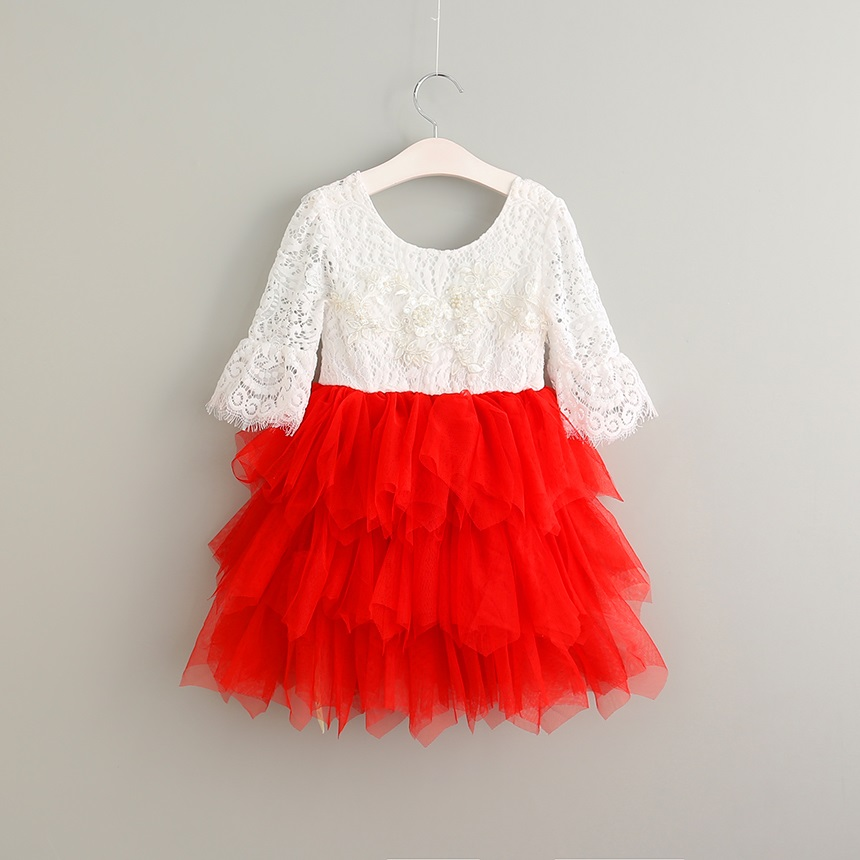christmas baby girl fall lace dresses autumn tulle tutu kids red flower dresses for girls wedding ball gown princess dress 2-6y 2017 new flower lace girls dress princess dresses solid wedding dress girl clothing sleeveless ball gown girl costume kids ds003