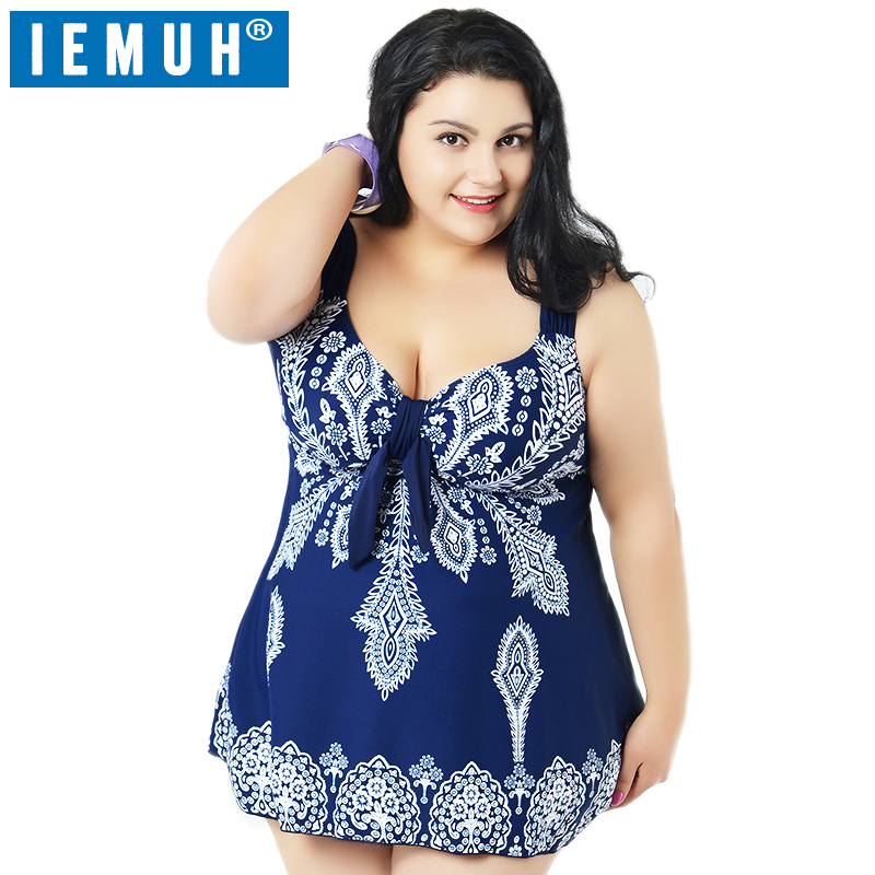 IEMUH One Piece Swimsuit Women Plus Size Dress 10 XL Floral Dot Backless Swimwear Beach Bathing Suits Plus Size 65-125Kg Top plus size womens swimsuit one piece backless swimwear floral print padded bathing suits large cup bust swimsuits for lady