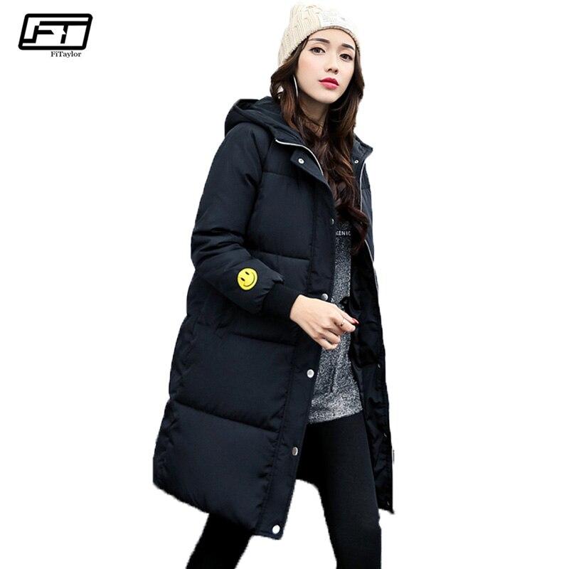 Fitaylor Fashion Winter Jacket Women 2017 Letter Print Slim Thick Parka Mujer Plus Size Invierno Black Long Cotton Coat Femme plus size letter print hooded sweatshirt dress