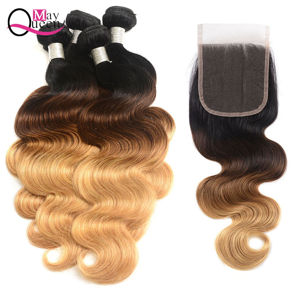 May Queen Hair Ombre T1B/4/27 Brazilian Body Wave Human Hair Weave 2&3&4Bundles With 4*4 Closure Free Part Remy Hair Extensions