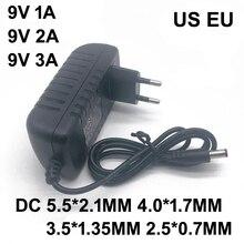 1 шт. AC/DC адаптер DC 9 в 1A 2A 3A AC 100-240 В конвертер адаптер питания 9 вольт 1000мА Зарядное устройство блок питания ЕС США штекер