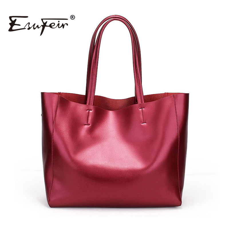 ESUFEIR Genuine Leather Women Handbag Fashion Composite Bag Solid Cowhide Shoulder Bag Large Capacity Ladies Bag bolsos KJ019