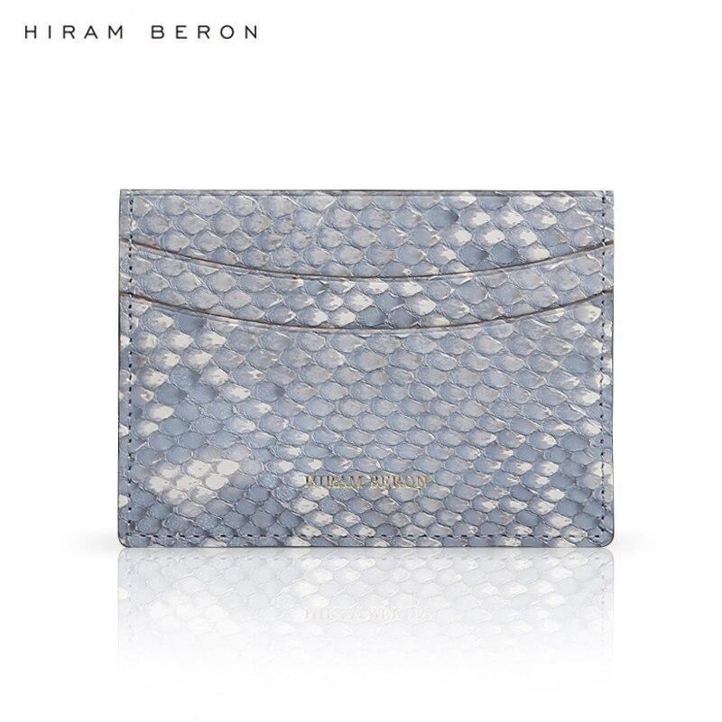 Hiram Beron luxury python leather small credit card wallet custom name gift box dropship