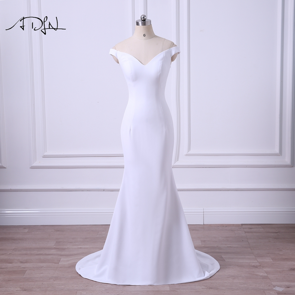 ADLN 2019 Simple Wedding Dresses Off shoulder White Ivory Garden Mermaid Bridal Gown Cheap Plus Size