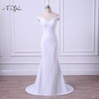 ADLN 2017 New Arrival Simple Wedding Dress V Neck Jersey Mermaid Bridal Gown Plus Size Vestidos