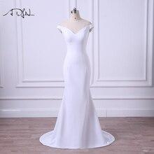Adln 2020 シンプルなウェディングドレスオフショルダーホワイト/アイボリーガーデンマーメイドブライダル格安プラスサイズ vestidos デ casamento