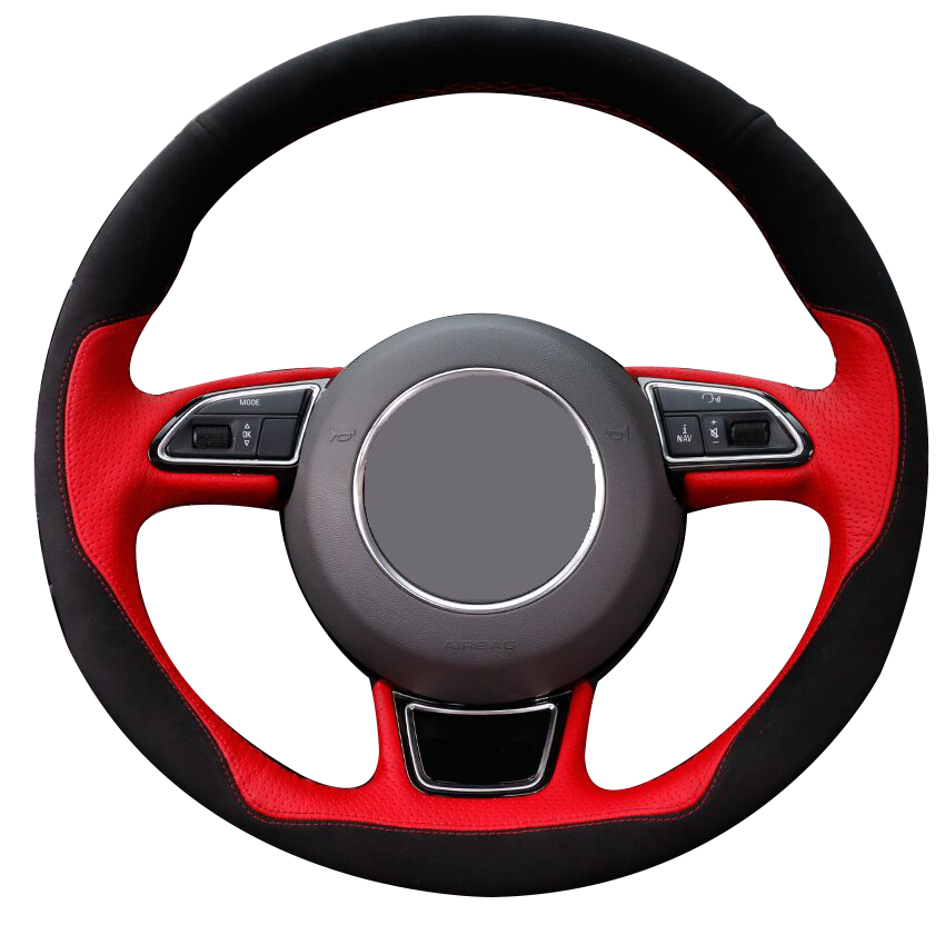 Black Suede Red Leather Car Steering Wheel Cover for Audi A1 A3 A5 A7