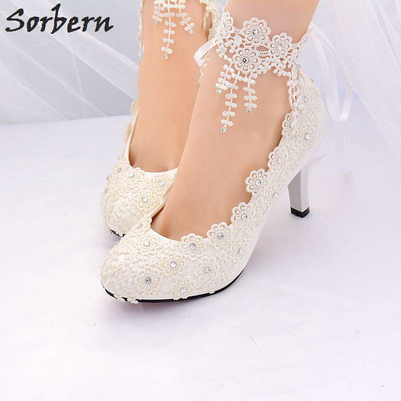 Sorbern White Bridal Wedding Shoes Pumps Women Shoes Lace Applique Crystal Real Image Show Ladies Party Shoes For Evening
