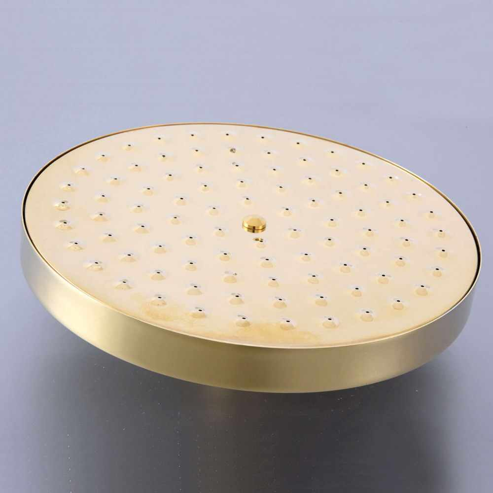 "7.7"" inch Luxury Gold Color Brass Round Bath Rainfall Rain Bathroom Shower Head Bathroom Accessory (Standard 1/2"") msh265"
