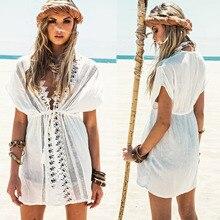 Women Cotton lace hollow beach bikini outer blouse Beach Anti-sunburn Skirt saida de praia Drop shipping support Wholesale