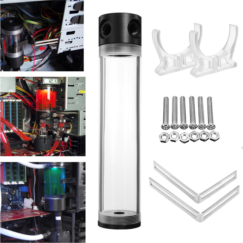 50mm x 400mm PC Water Liquid Cooling Tank Acrylic Cylinder Reservoir Helix SuspensionG1/4 T Water Cooling Kit For Computer CPU cpu cooling conductonaut 1g second liquid metal grease gpu coling reduce the temperature by 20 degrees centigrade