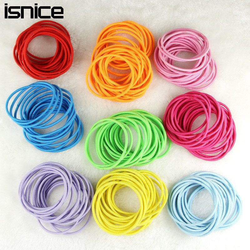 isnice 100pcs Rainbow CoLor Women Gum For Hair accessories Cheap Hair ornaments