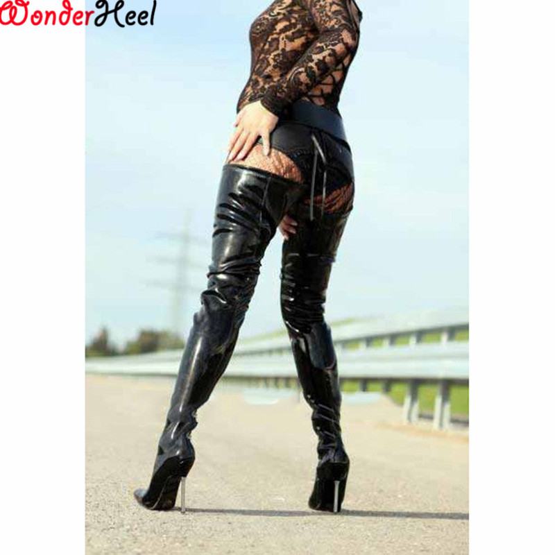 thigh high Shemale boots red in