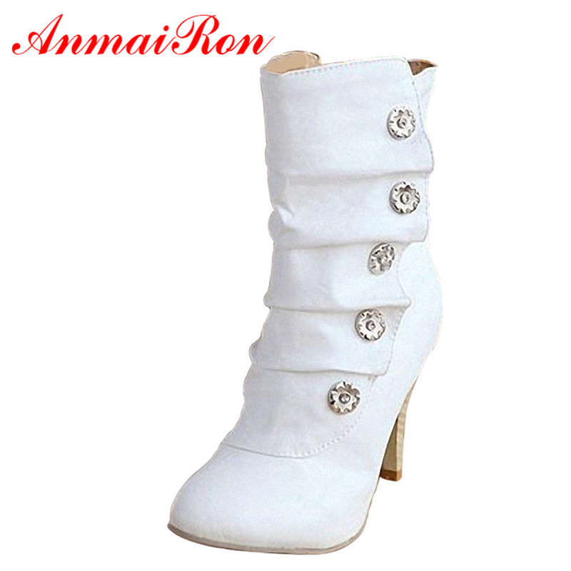 anmairon on sale winther new style high heels pu mid