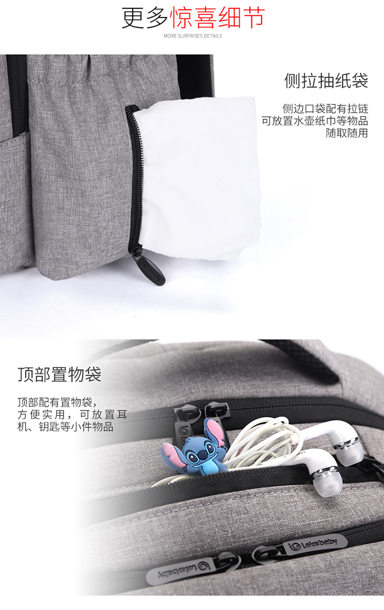 Lekebaby Diaper Bag Backpack (22 Liter / 18 Compartments)
