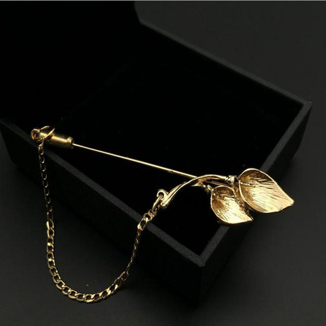 026c4a58635 2018 Fashion Jewelry Gold Silver Metal Pins Long Brooch Flower Lapel Pin  Men Suit Brooch Broche Fleur Vintage Brooches For Women