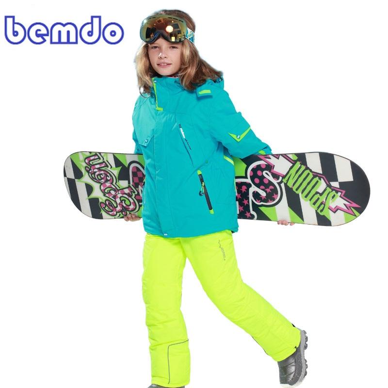 new Winter Fleece Warm Ski Suit Boys Waterproof Mountain Skiing Jacket Coat + Bib Pants Children Kids Snowboard Snow Clothing 5