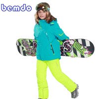 new Winter Fleece Warm Ski Suit Boys Waterproof Mountain Skiing Jacket Coat + Bib Pants Children Kids Snowboard Snow Clothing 5