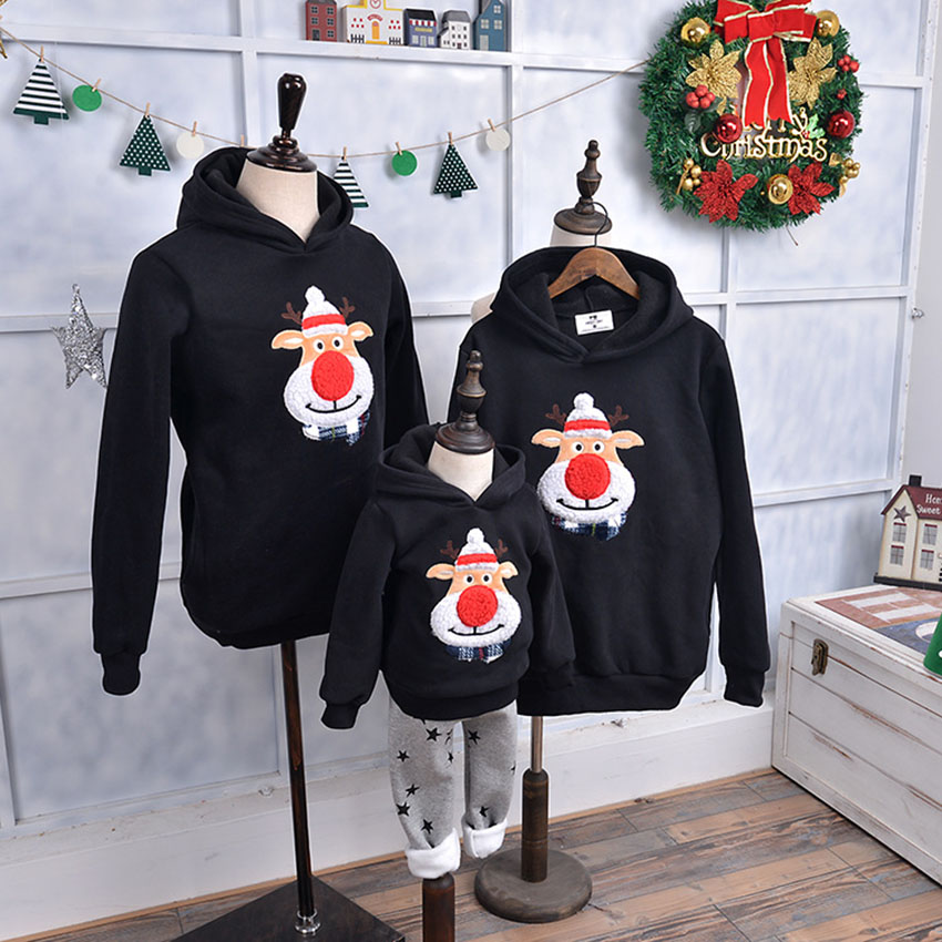 Mom and Daughter Matching Clothes Christmas Unisex Family Cartoon Deer Winter Sweatshirts Korean Style Mother Daughter Outfits