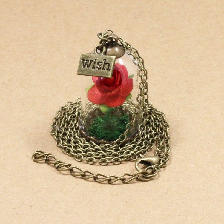 HTB1aDM5QpXXXXaeaXXXq6xXFXXXk - 1PC jewelry Beauty and the Beast Necklace Wish Rose Flower in Glasses Pendant Necklace PTC 198