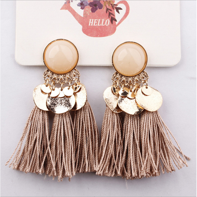 Ethnic Bohemia Women Dangle Drop Earrings Summer Round Resin Tassel for Women Fashion Jewelry