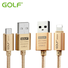 GOLF Metal Braided USB Data Sync Charge Cable For iPhone 5 6 7 iPad 4 Samsung LG iOS10 Android Phone Fast Charging Charger Wire