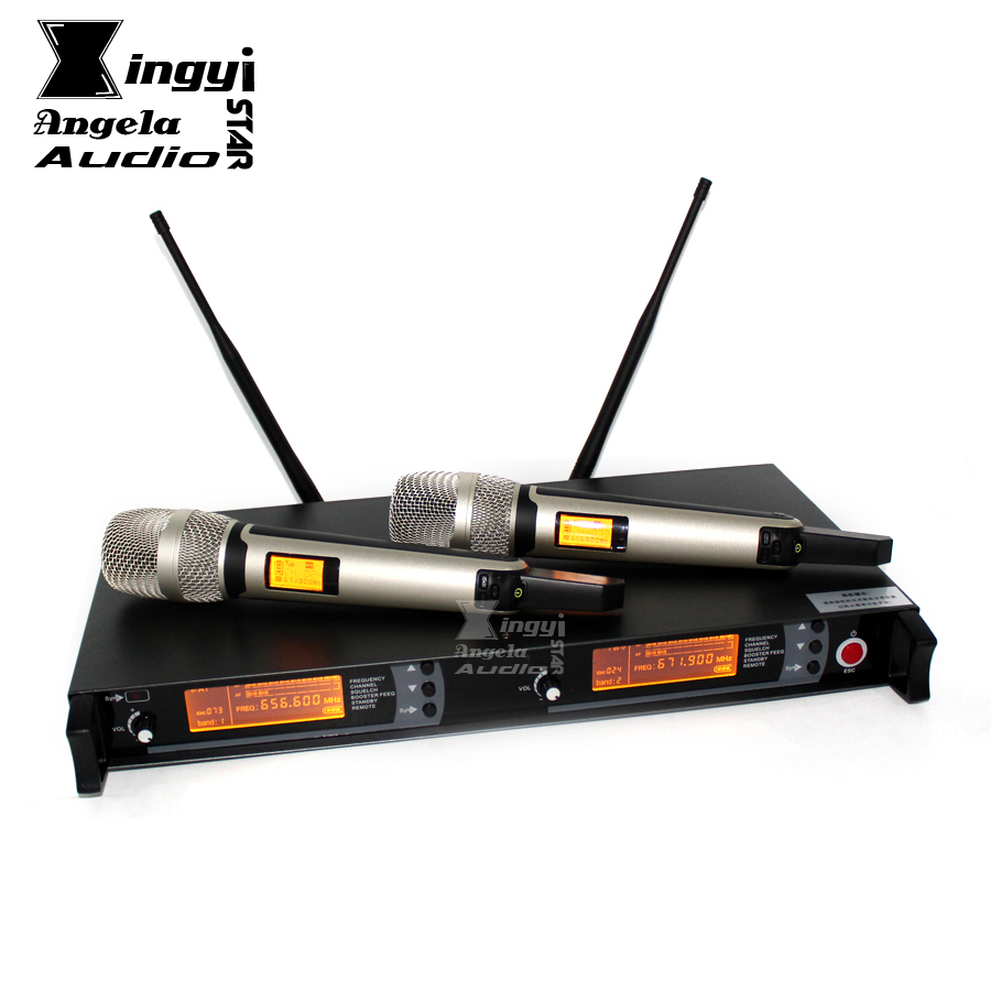 Professional UHF Wireless Microphone System 2 Channels Receiver Dual Karaoke Mic Microfone Sem Fio SKM9000 Microfono