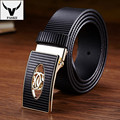 Famous Brand New Cowskin Men Luxury Belt Smooth Metal Buckle Ginning Genuine Cow Leather Belt Business Cowhide Waist Strap W237