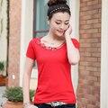 Alta Calidad 2017 Del Verano Mujeres de La Camiseta de Encaje Hueco de Manga Corta Camisetas Harajuku Femenina Camiseta Tops Camiseta Más El Tamaño XXXL JA2460