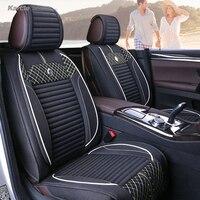 Karcle 3PCS Car Seat Covers Kit Wear Resistant For 4 Season Healthy Linen Driver Seat Cushion