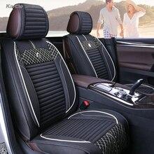 Karcle 3 STÜCKE Autositzbezüge Kit für Winter Warme Gesunde Leinen Fahrer Sitzkissen Atmungs Auto-styling Autos zubehör